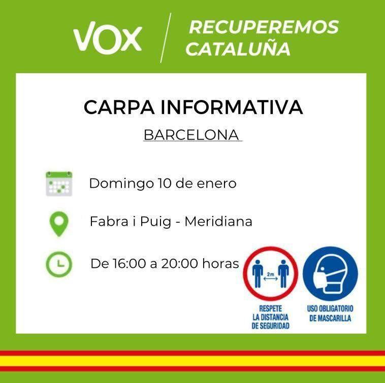 Convocatòria d'una carpa informativa de Vox, a Barcelona